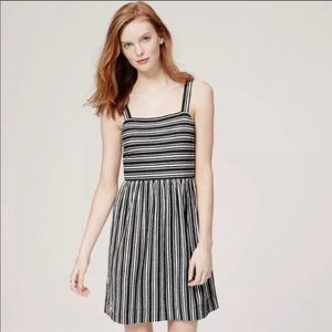 LOFT Striped Fit & Flare Apron Summer Dress XS
